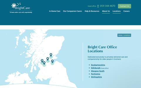 Screenshot of Contact Page Locations Page brightcare.co.uk - Care at Home Services | Local to you | Scotland-wide Locations | Bright Care - captured June 3, 2017