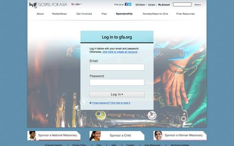 Screenshot of Login Page gfa.org - Log In - Gospel for Asia - captured Oct. 25, 2015