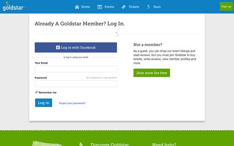 Screenshot of Login Page goldstar.com - Log in | Goldstar - captured Sept. 18, 2014