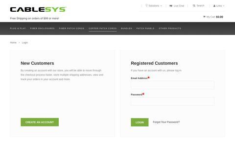 Screenshot of Login Page cablesys.com - Customer Login - captured July 10, 2016