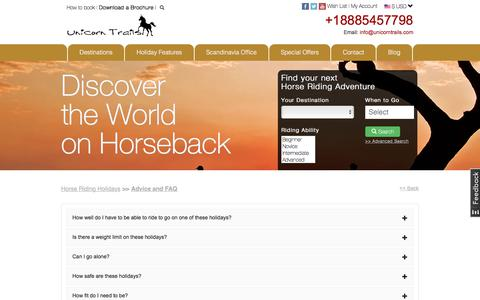 Screenshot of FAQ Page unicorntrails.com - Answers to questions on a Unicorn Trails Horse Riding Holiday - captured Nov. 12, 2017