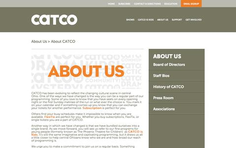 Screenshot of About Page catcoistheatre.org - About CATCO | Catco - captured Oct. 1, 2014