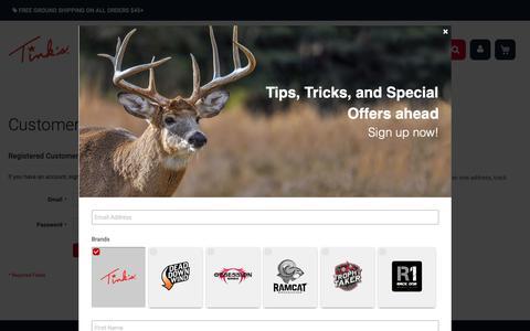 Screenshot of Login Page tinks.com - Customer Login - captured Oct. 20, 2018