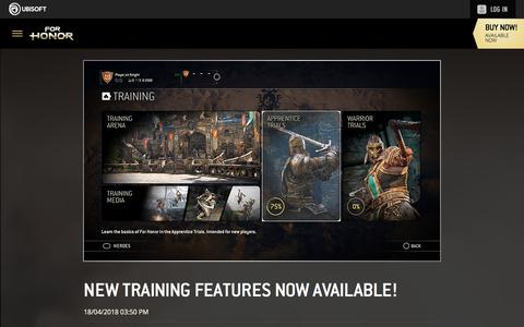 Screenshot of Press Page ubisoft.com - NEW TRAINING FEATURES NOW AVAILABLE!      Ubisoft - captured Nov. 8, 2019