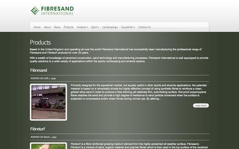 Screenshot of Products Page fibresand.com - Products | Fibresand International - captured Oct. 5, 2014