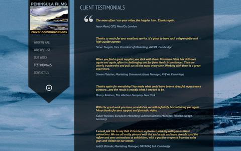 Screenshot of Testimonials Page peninsulafilms.com - Client Testimonials | Peninsula Films - captured Jan. 24, 2016
