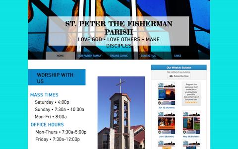 Screenshot of Home Page spfcp.org - St. Peter the Fisherman Catholic Parish - captured June 13, 2016