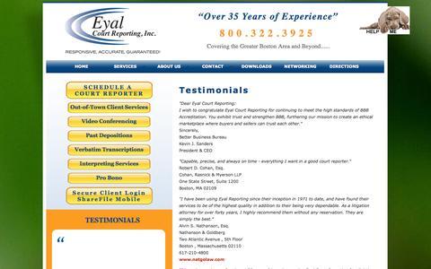 Screenshot of Testimonials Page deposerve.com - Eyal Court Reporting - Testimonials - captured Oct. 3, 2014