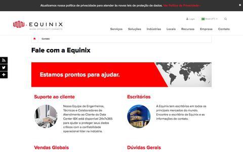 Screenshot of Contact Page equinix.com.br - Fale com a Equinix – Informações de contato global da Equinix - captured Sept. 23, 2018
