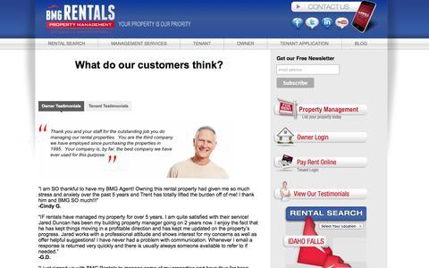Screenshot of Testimonials Page bmgrent.com - Testimonials   BMG Rentals Property Management   Owner Services in   Idaho Falls   Salt Lake City   St. George   Pocatello - captured Oct. 4, 2014