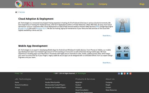 Screenshot of Services Page jkltech.in - JKL Technologies - Services | Social Objective Marketing Campaigns | English Vocabulary Tool | Cloud Services Adoption & Deployment Consultation - captured Oct. 4, 2014