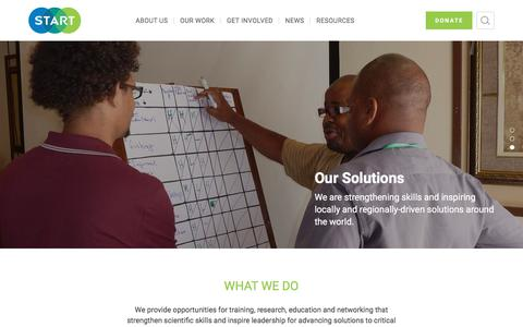 Screenshot of Home Page start.org - START – START provides opportunities for training, research, education and networking that strengthen scientific skills and inspire leadership for advancing solutions to critical sustainability challenges. - captured Feb. 5, 2018