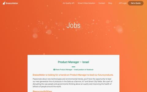 Screenshot of Jobs Page breezometer.com - Jobs - BreezoMeter - captured July 16, 2016