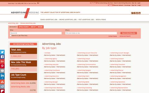 Screenshot of Jobs Page advertisingcrossing.com - Browse Advertising Jobs By Job Title, City, State   AdvertisingCrossing.com - captured Dec. 24, 2015