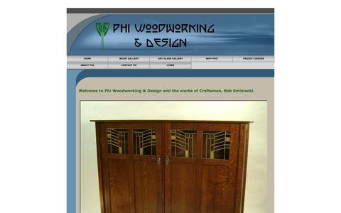 Screenshot of Home Page phiwoodworking.com - Phi Woodworking & Design - Home of heirloom quality custom made furniture and decor - captured Oct. 2, 2014