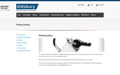 Screenshot of Privacy Page didsbury.com - Privacy policy. Didsbury Engineering - captured Oct. 2, 2014