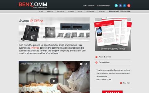 Screenshot of Products Page bencomm.com - Avaya IP Office Phone Systems | BenComm - captured Oct. 10, 2017