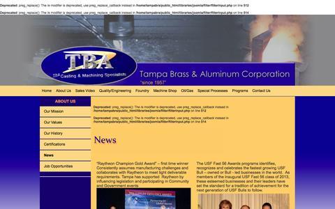 Screenshot of Press Page tampabrass.com - News  :: Tampa Brass and Aluminum - captured Oct. 9, 2014