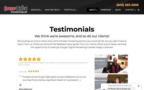 Screenshot of Testimonials Page cougardigitalmarketing.com - See Why Cougar Digital is Tri-Cities' Best Digital Marketing Agency - captured Nov. 9, 2019