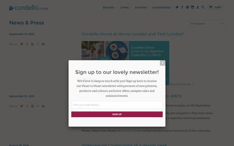 Screenshot of Press Page cordellohome.com - News & Press - Cordello Home - captured April 7, 2016