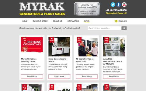 Screenshot of Press Page myrak.com - Latest News - Myrak Generators & Plant Sales - captured Dec. 20, 2015