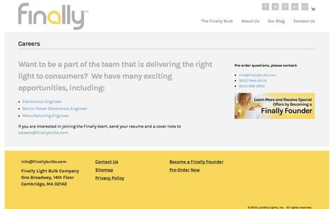 Screenshot of Jobs Page finallybulbs.com - Careers | The Finally Light Bulb Company - captured Sept. 23, 2014