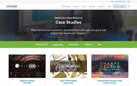 Screenshot of Case Studies Page choozle.com - Case Studies | Choozle: Digital Advertising Made Easy™ - captured Feb. 21, 2020