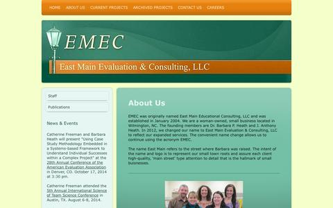 Screenshot of About Page emeconline.com - About Us - East Main Educational Consulting, LLC - captured Oct. 1, 2014