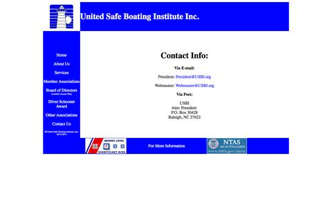 Screenshot of Contact Page usbi.org - United Safe Boating Institute Inc. - Contact Info - captured Oct. 7, 2014