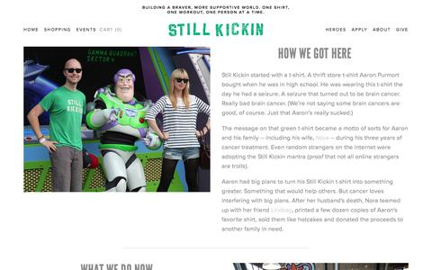 Screenshot of About Page stillkickin.co - Why We're Here — Still Kickin - captured July 8, 2018