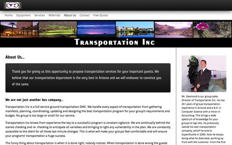 Screenshot of About Page transincaz.com - About Transportation Inc - captured Oct. 7, 2014