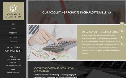 Screenshot of Products Page accsoln.com - Accounting | Charlottesville, VA | Accounting Solutions PLLC - captured Oct. 7, 2017