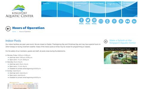 Screenshot of Hours Page swimkingsport.com - Hours of Operation - captured Oct. 6, 2014