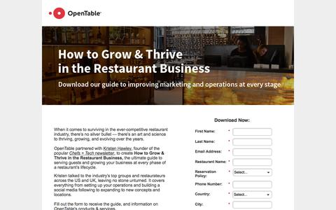 Screenshot of Landing Page opentable.com - How to Grow & Thrive in the Restaurant Business - captured March 4, 2018