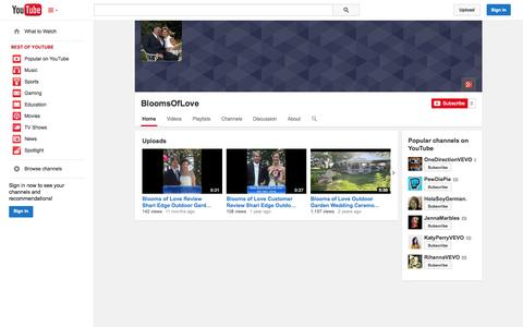 Screenshot of YouTube Page youtube.com - BloomsOfLove  - YouTube - captured Nov. 3, 2014