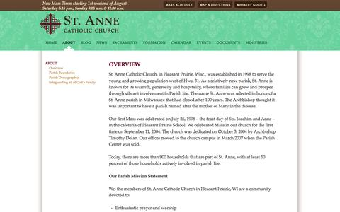 Screenshot of About Page saint-anne.org - Overview | St. Anne Catholic Church - captured Oct. 4, 2014