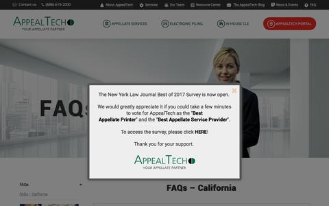Screenshot of FAQ Page appealtech.com - FAQ - AppealTech - Your Appellate Partner - captured May 30, 2017