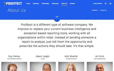 Screenshot of About Page profitect.com - About Us - Profitect - captured July 12, 2018