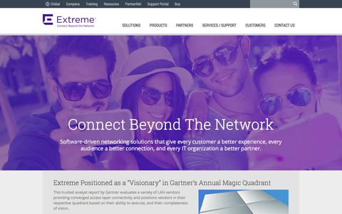 Screenshot of Home Page extremenetworks.com - Extreme Networks: 802.11ac Wave 2 wireless, software-driven networking solutions, and network management - captured Jan. 14, 2016
