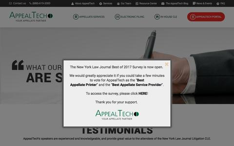 Screenshot of Testimonials Page appealtech.com - Testimonials - AppealTech - Your Appellate Partner - captured May 30, 2017