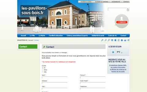 Screenshot of Contact Page les-pavillons-sous-bois.fr - Contact / Accueil - Site de la ville des Pavillons-sous-Bois - captured June 2, 2016