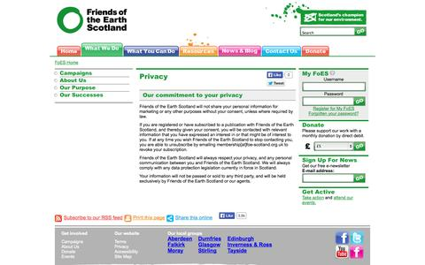 Screenshot of Privacy Page foe-scotland.org.uk - Privacy | Friends of the Earth Scotland - captured Oct. 6, 2014