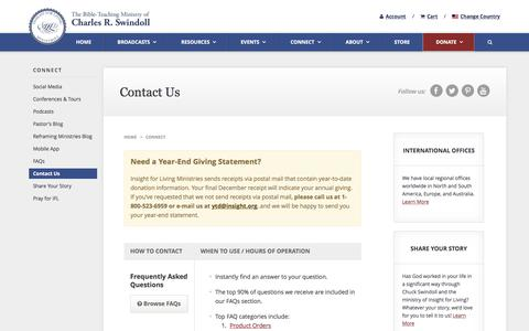 Screenshot of Contact Page insight.org - How to Contact Insight for Living Ministries - Insight for Living Ministries - captured June 17, 2016