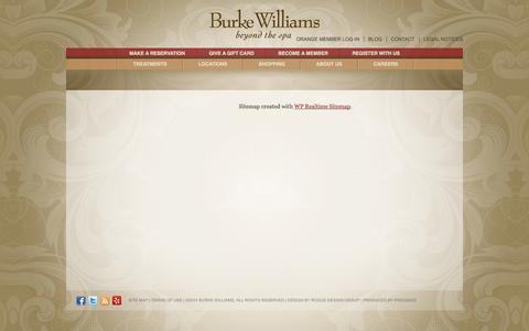 Screenshot of Site Map Page burkewilliamsspa.com - Sitemap | Burke Williams Spa - captured Sept. 19, 2014