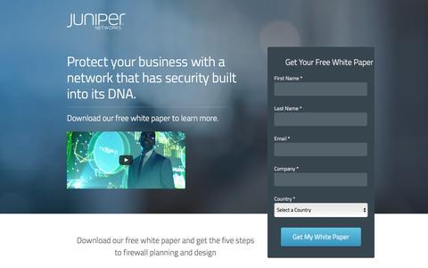 Screenshot of Landing Page juniper.net - Network Security FREE White Paper   Juniper Networks - captured April 20, 2017