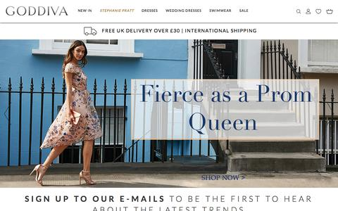 Screenshot of Home Page goddiva.co.uk - Goddiva | High Quality Dresses & Accessories - captured July 21, 2018