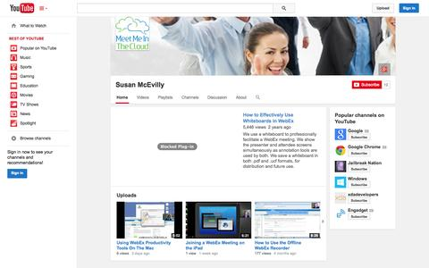 Screenshot of YouTube Page youtube.com - Susan McEvilly  - YouTube - captured Nov. 3, 2014