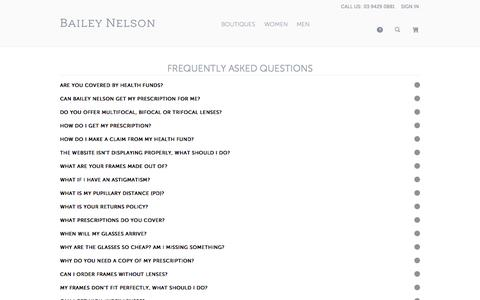 Screenshot of FAQ Page baileynelson.com.au - Frequently Asked Questions - Magento Commerce - captured Oct. 29, 2014
