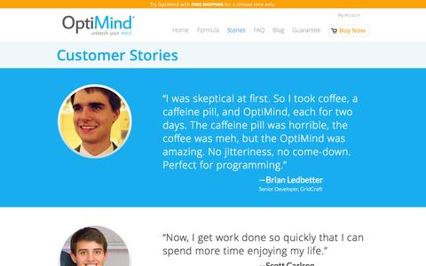 Screenshot of Testimonials Page alleradd.com - OptiMind™ Stories | Life-changing stories. Read why our customers love us. - captured Sept. 24, 2014