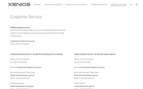 Screenshot of Support Page xenios-ag.com - Customer Service - Xenios AG - captured June 18, 2017